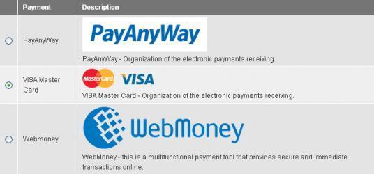 Cпособы оплаты в виде таблицы в Drupal Commerce
