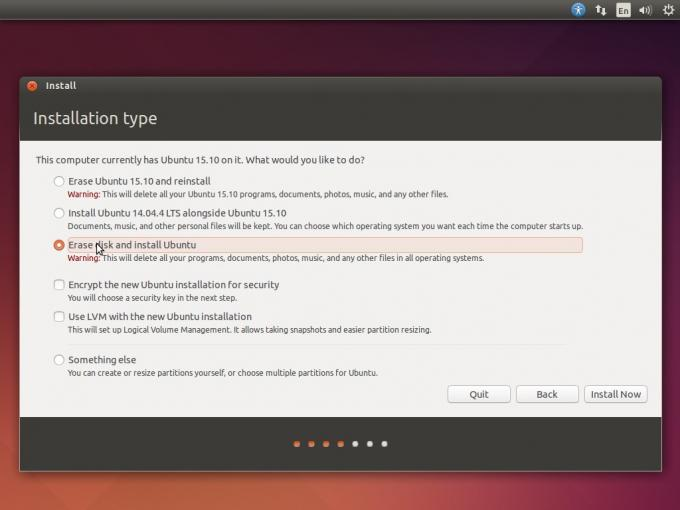 Installation type of Ubuntu